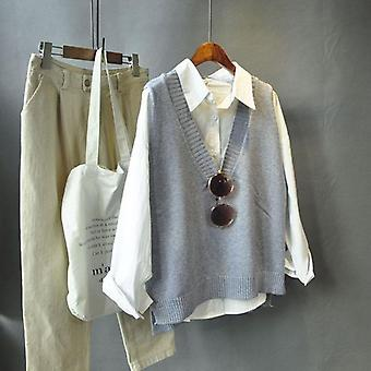 Vesten, Solid V-neck Knitted, Simple Chic Daily Streetwear Vintage