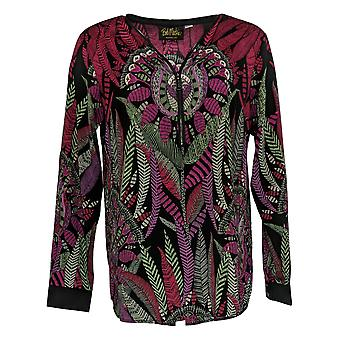 Bob Mackie Women's Top Tribal Feather Pritn Woven Red A366545