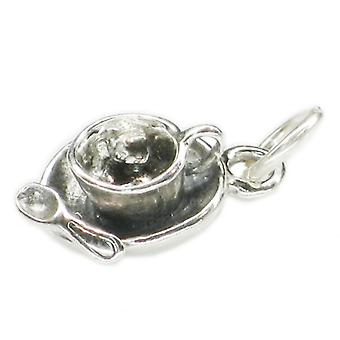 Cup And Saucer With Spoon Sterling Silver Charm .925 X 1 Tea Cups Charms - 3662