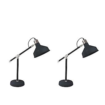 """S/2 Metal 20"""" Dome Shade Task Lamps, Black - Kd"""