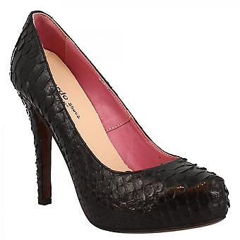 Leonardo Shoes Women's fait main élégante plate-forme talons hauts pompes chaussures en cuir python noir