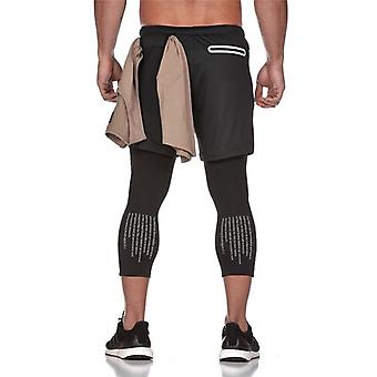 Men Elastic Breathable 2 Piece Running Training Pants