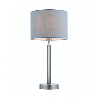 Owen Cylinder Table Lamp In Steel, Matte Nickel Plate And Gray Fabric