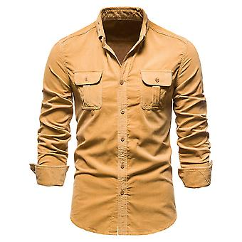 Men's Solid Color Lapel Long Sleeve Regular Fit Designed Shirt