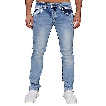 Homme AMICA Denim Jeans Thick Fat Decor Stitching Pants 5-Pocket Regular Fit Club