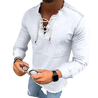 YANGFAN Men's Solid Color Drawstring T-shirt met lange mouwen