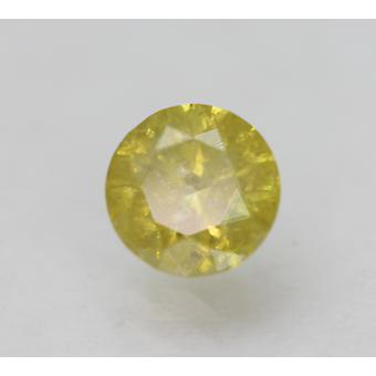 Cert 0.69 Carat Vivid Yellow SI2 Round Brilliant Enhanced Natural Diamond 5.41mm