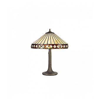 Lámpara De Mesa Tiffany Carole 2 Bombillas ámbar 21,5 Cm