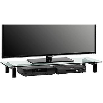 MAJA-Mbel 1605 9599 TV-Tafel, Metall schwarz - Klarglas, Abmessungen BxHxT: 110 x 12,5 x 35 cm