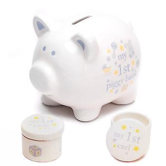 Widdop & Co. Ceramic Piggy Bank Tooth & Curl Set -blue