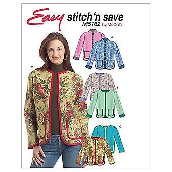 McCalls ompelu kuvio 5162 Misses Vuorattu Takki Koko L-XL Stitch N Tallenna