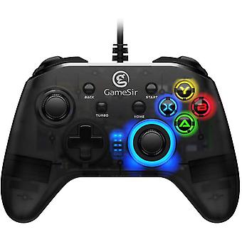 T4w Wired Controller PC Controller for Windows 7/8/10 Controller with Cable for Windows PC Wired Controller PC Gamepad with LED Backlight Semi-Transparent Design(black)