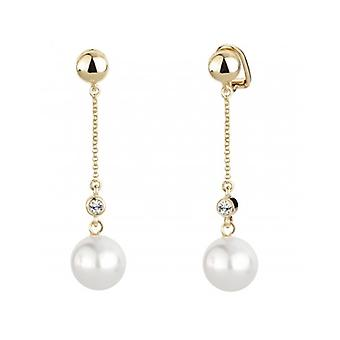 Traveller Clip Earring - Hanging - White Pearl - 22ct Gold Plated - 114139 - 403