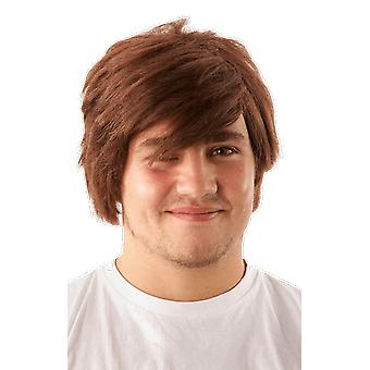 Mens Short Brown Wig Popstar 90s Fancy Dress Costume Accessory