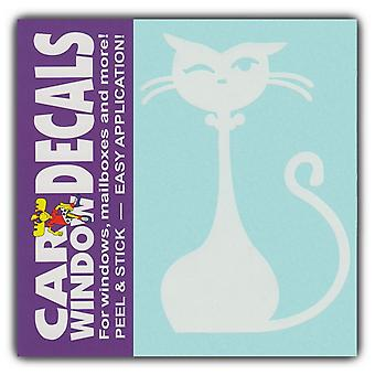 "Decal, Window Decal, Fancy Prissy Cat Figure, 4.5"" Tall"