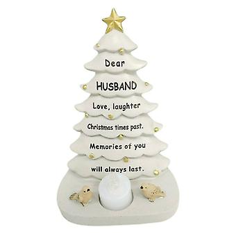 David Fischhoff Husband Christmas Tree With Flickering Led Candle Light Memorial Ornament