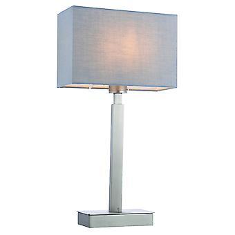 Lampe de table Plaque nickel mate, tissu gris abat-jour rectangulaire avec prise USB