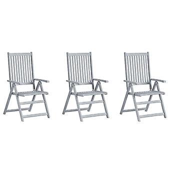 vidaXL Sillas de jardín ajustables 3 piezas con almohadillas de madera maciza acacia