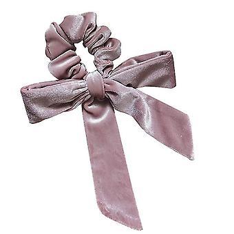 Pink fløjl hoved reb streamer bue knude hår loop høj elastisk slips hår x2353