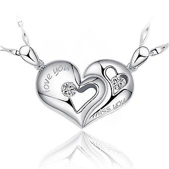 Women Necklace Vintage Couple Heart Kiss Silver Pendant For Party