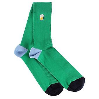 Happy Socks Ribbade broderi öl strumpor - Grön / Svart / Blå