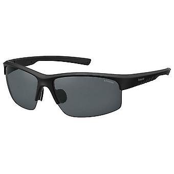 Polaroid Half Rim Sonnenbrille - Schwarz