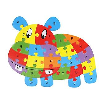 Children's Wooden Puzzles, Various Animals, English Letters, Children's Educational Toys-(hippo)