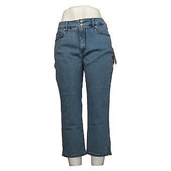 NYDJ Pantalones vaqueros para mujer Cool Abrazar Skinny Crop w / Side Slits Blue A377691