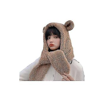Winter Girl Cute Lamb Fur Collar Bear Ears Hat Scarf Integrated Thick Warm Ear Protection