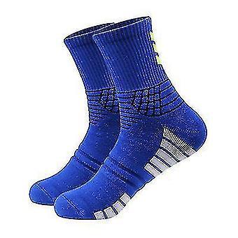 3 Pairs Of Outdoor Running Basketball Sports Socks Ladies Mid-tube Cotton Socks(Blue)