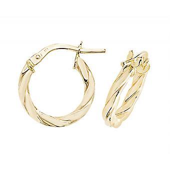 HS Johnson HSJ-ER1041-10 Women's 9ct Gold Twisted Hoop Earrings