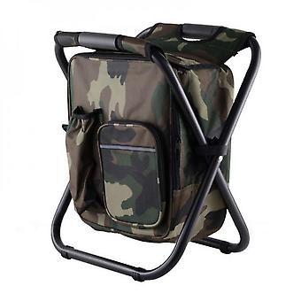 Collapsible Folding Camping Chair And Insulated Cooler Bag With Zippered Front Pocket