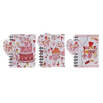 Sormusten kirja DKD Home Decor Pink (3 kpl) (12 x 1,5 x 14,5 cm)