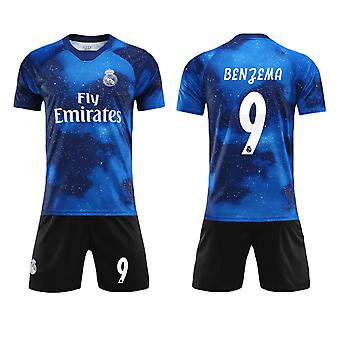 Karim Benzema #9 Jersey Real Madrid CF Fly Emirates Fotboll T-Shirts Jersey Set för barnungdomar