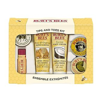 Burt's bees tips and toes kit holiday gift set, 6 travel size products in gift box, 1 box