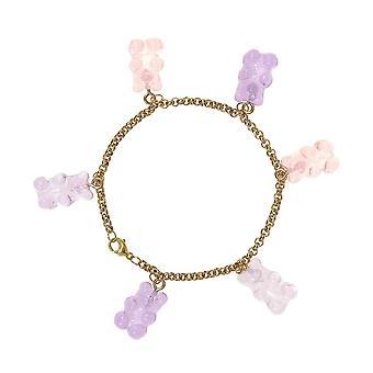 Gemshine Armkette mit Gummibärchen im Rosa Farbverlauf Pastell. Made in Germany