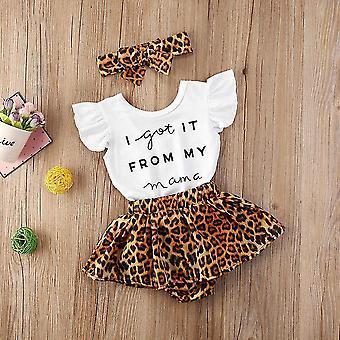 3-osainen vauvan asusarjat kesäiseen bodyun, leopardissukkahousuihin ja vastaavaan päänauhaan (I Got It From My
