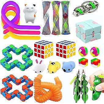 24pcs Anxiety Relief Toys Set Push Pop Bubble Noodle Strings Sensory Fidget Toy