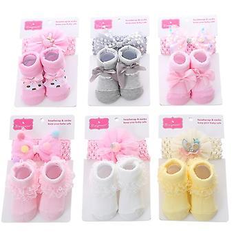 Baby Girl Baumwollsocken mit Kopfbesatz Set von 6
