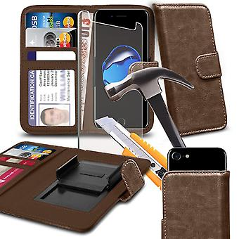 """i-Tronixs - InnJoo Halo X LTE (5.5"""") High Quality Clamp Style Leather Wallet Case Cover with Tempered Glass - Brown"""