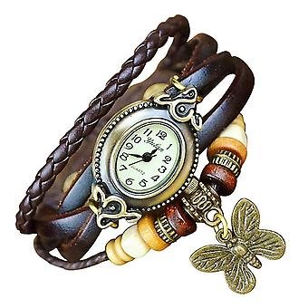 Boolavard® TM Butterfly Quartz Fashion Weave Wrap around Leather Bracelet Women Wrist Watch