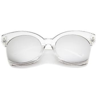 الجانبية كبيرة الحجم قص الإطار شفافة ملونة مرآة القط المرأة العين نظارات مم 59