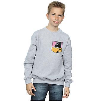 Garçons de Looney Tunes Daffy Duck Face fausse poche Sweatshirt