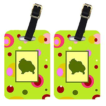 Carolines Treasures  CK1145BT Pair of 2 Pomeranian Luggage Tags