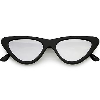 Women's Small Thick Cat Eye Sunglasses Colored Mirror Flat Lens 51mm
