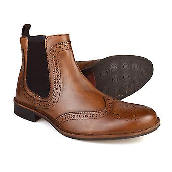 Silver Street Byron Tan Leather Brogue Mens Chelsea Boots