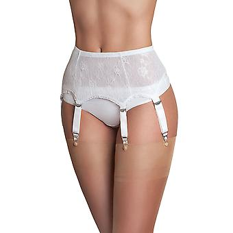 Nylon Dreams NDL55 Women's White Solid Colour Lace Garter Belt 6 Strap Suspender Belt