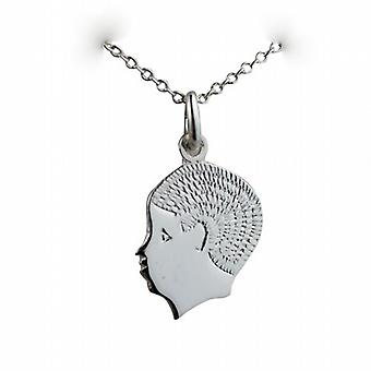 Silver 17x14mm Boy's Head Pendant with a curb Chain 24 inches