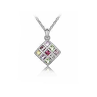 Womens Silver Rainbow Multi Colour Crystal Square Pendant Necklace