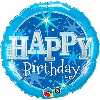 Folienballon Happy Bithday blau Geburtstag circa 45cm